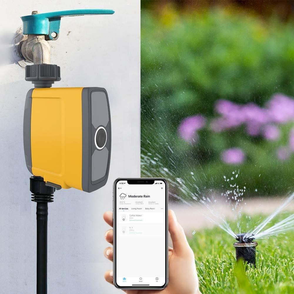 SEAAN Water Timer Remote Control Include Soil Moisture Sensor,Real-time Monitoring Of Soil WIFI Smart Hose Watering Timer Digital Garden Timer Automatic Watering Device