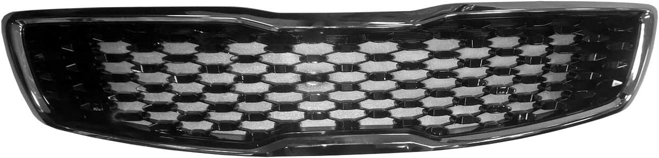 2017-2018 Kia Forte Front Grille; Painted Black With Smoke Black Frame; Made Of Abs Plastic Partslink KI1200191