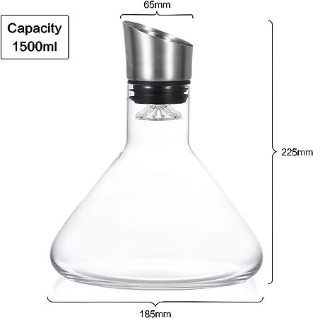 Cooko Aireador Decantador de vino,Jarra de Respiración de Vino con Tapa de Vertido,Vidrio Soplado a Mano,Accesorio de Vino de Lujo para Regalo (1500 ml)