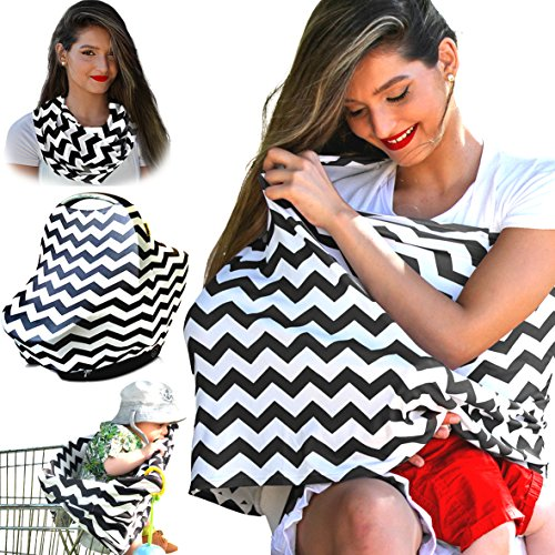 Nursing Cover Breastfeeding Scarf, Baby Car Seat Canopy, Shopping Cart, Stroller, Carseat Stretchy Covers Unisex Girls and Boys (Black/White Chevron)