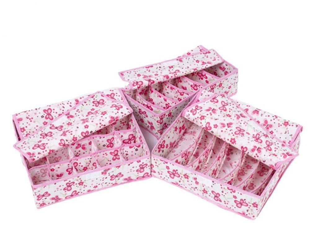 VADOLY 3Pcs Multi-Size Bra Underwear Foldable with Cover Home Storage Box Wardrobe Drawer Closet Organizer for Scarfs Socks