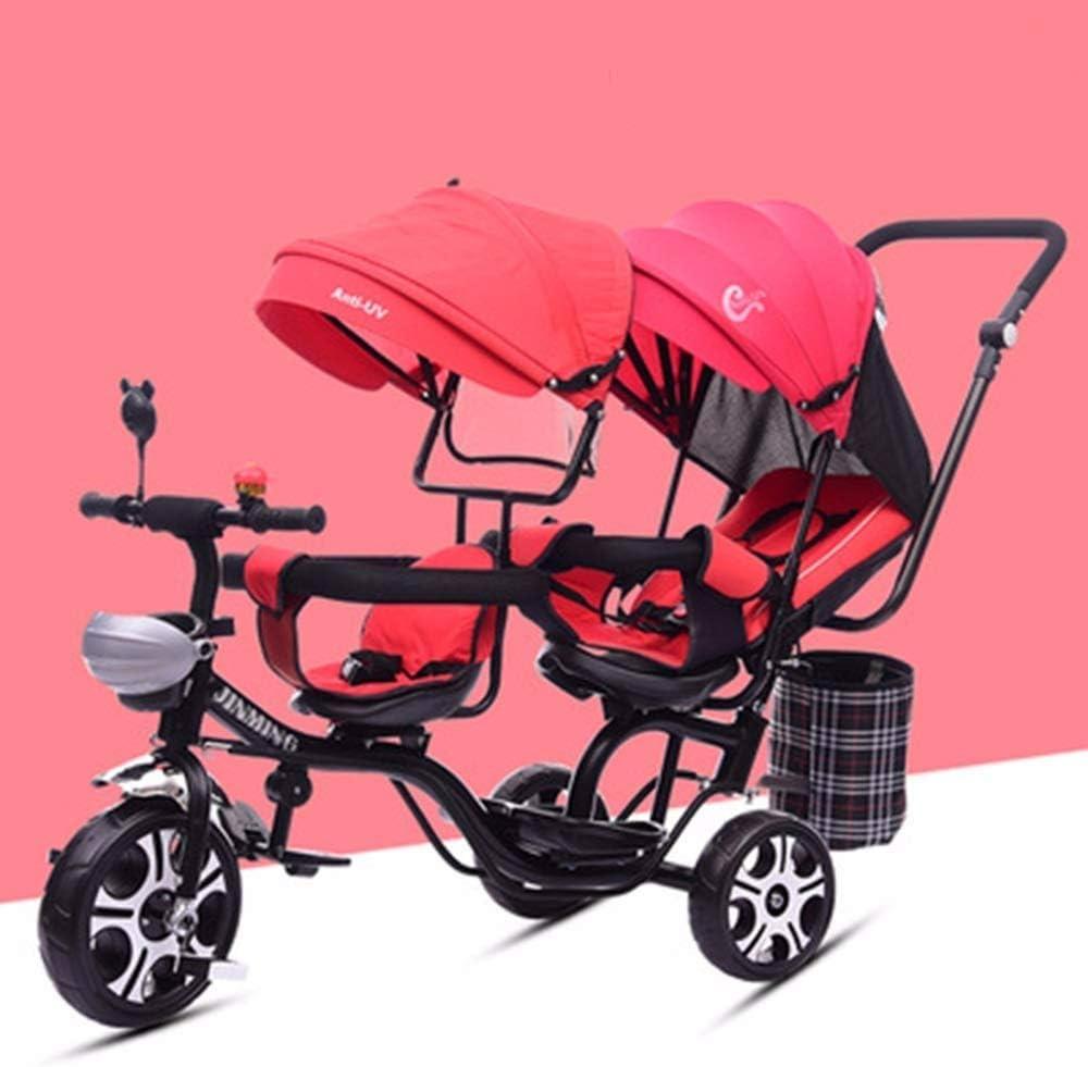 TZZ Bebé del triciclo reclinado del asiento doble, ajustable con dosel, arnés de seguridad, la absorción de choque infantil Cochecito de bicicletas, for el niño niños/niñas, de 7 meses - 6 años