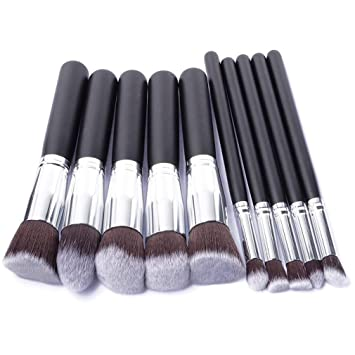 a47426ead45f Amazon.com: 10 Pcs Silver Golden Makeup Brushes Set Eyeshadow ...