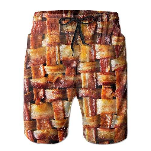 Les Hommes Boutique De Tee Shirt Viande De Lard Drôle Pantalon Court Plage Pantalon De Planche À Séchage Rapide Blanc