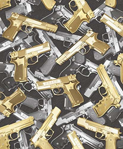 Muriva New Designer Bling Gold Black Guns Gangster Wallpaper