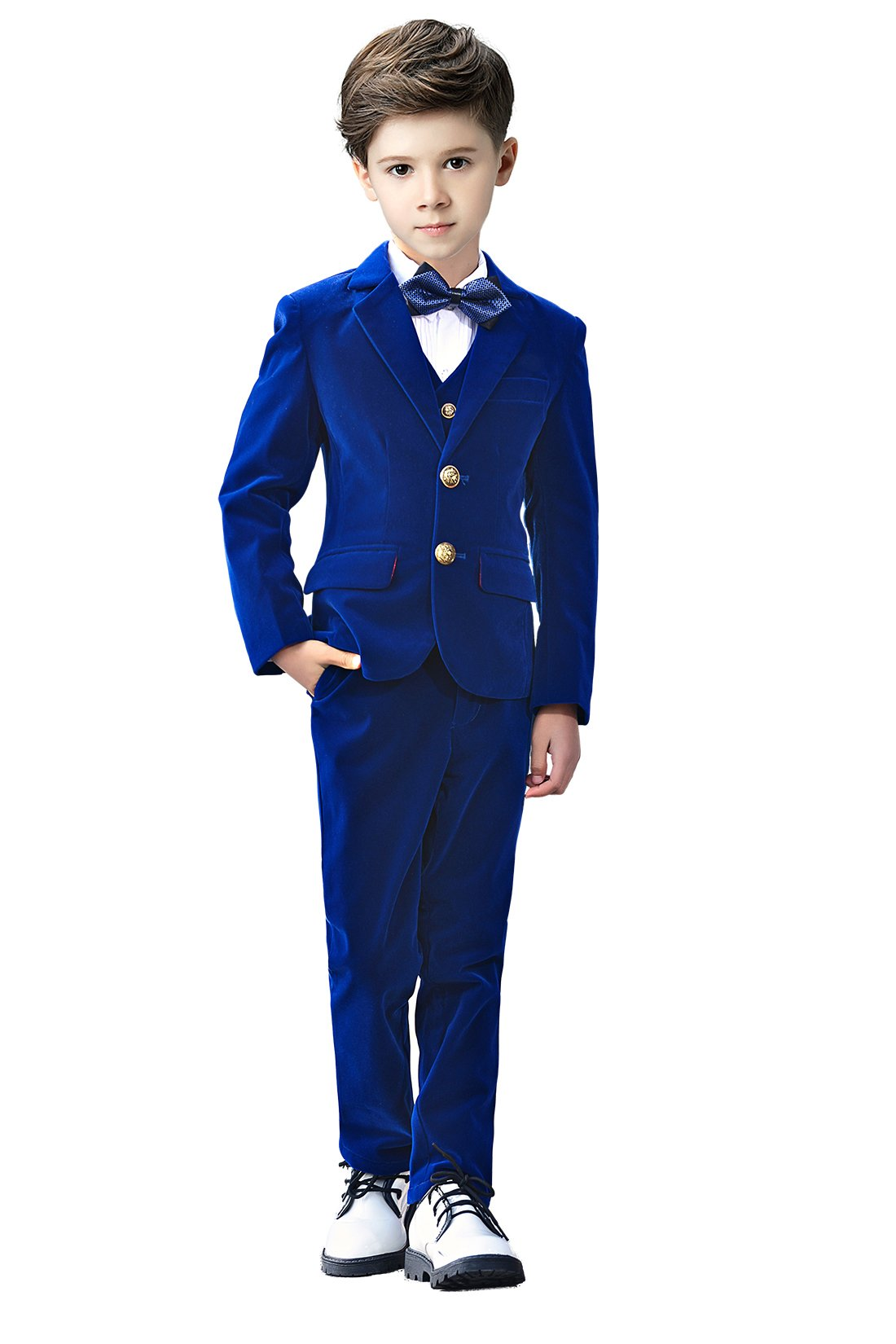 Yanlu 5 Piece Boys Suits Set Kids Formal Velvet Suit With Blazer Vest Pants Shirt And Bow Tie 3T Blue