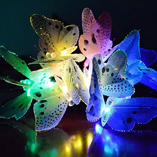 Solar String Lights, 12 LED Butterfly Fiber Optic Garden Patio Outside Weatherproof Outdoor String Lights for Homes, Wedding,Cafe, LED Fairy Lights 12pcs