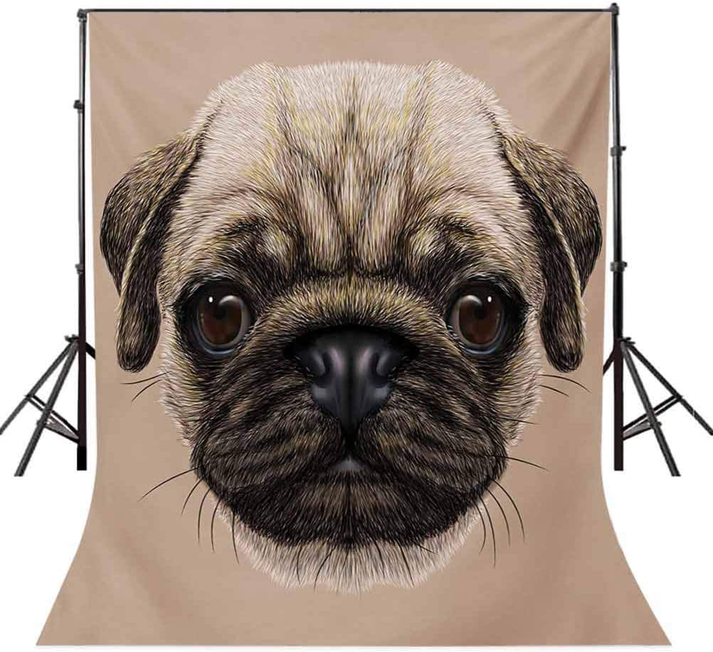 8x10 FT Photo Backdrops,Detailed Portrait Drawing of a Dog Realistic Design of The Pet Animal Digital Art Background for Kid Baby Boy Girl Artistic Portrait Photo Shoot Studio Props Video Drape