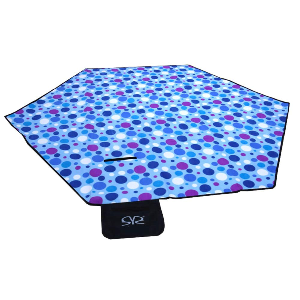 TXDY Foldable Outdoor Picnic Rug Mat Sandproof Mat, Hexagon Dual Layers for Outdoor Water-Resistant Handy Mat Washable Lawn Mat for Beach,Blue by TXDY
