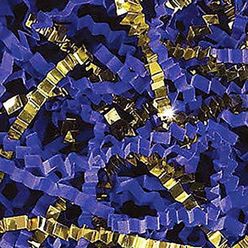 Custom & Unique {6 Ounces} of Crinkle Cut Shredded Gift Basket Filler Paper Made From Cardstock w/ Fancy Metallic Golden Accent & Royal Blue Tone Elegant Special Decorative Design (Gold & Blue)