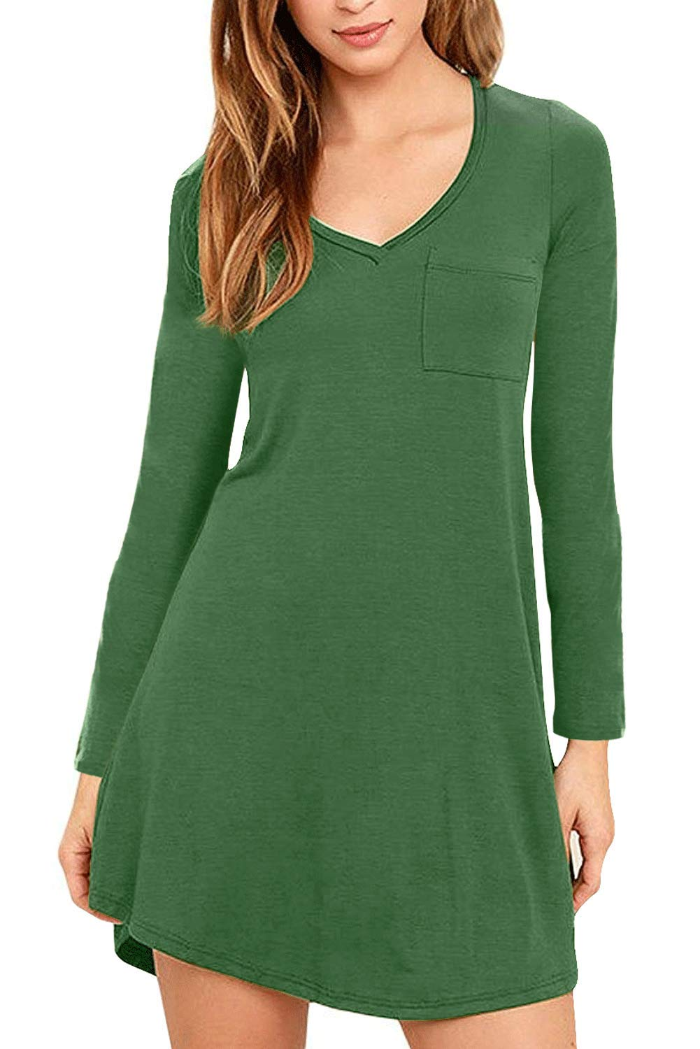 Eanklosco Women's Casual Dress V Neck Short/Long Sleeve T Shirt Dress with Pockets (L/UK 12, Green)