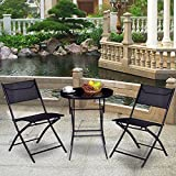 Giantex 3PC Bistro Set Folding Round Table and Chair Set Outdoor Furniture Backyard (Round Table)