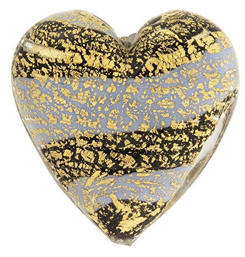 (Murano Glass Beads Blue Ca'd'oro Flat Focal Hearts)