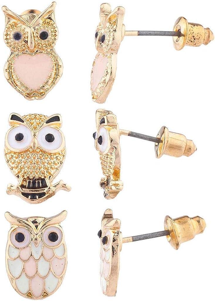 Lux Accessories Gold Tone Three Triple Pastel Owl Stud Post Earring Set (3prs)