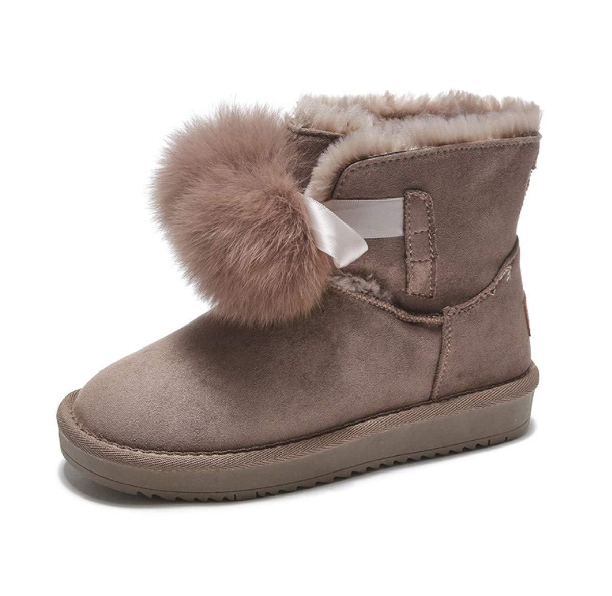 DANDANJIE Damen Schneestiefel mit Niedlichen Pompom Flache Heel Stiefelies Winter Faux Wildleder Slip On Ankle Stiefel