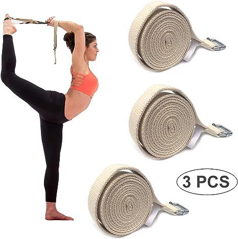 WYQWAN Yoga Cinturon Algodon - 100% Algodon - Correa Yoga Algodon para Mejores Estiramientos - con Hebilla De Metal con Anillo En D- Yoga Strap Belt [183 X 2,5 Cm](3Pcs): Amazon.es: Deportes y aire libre