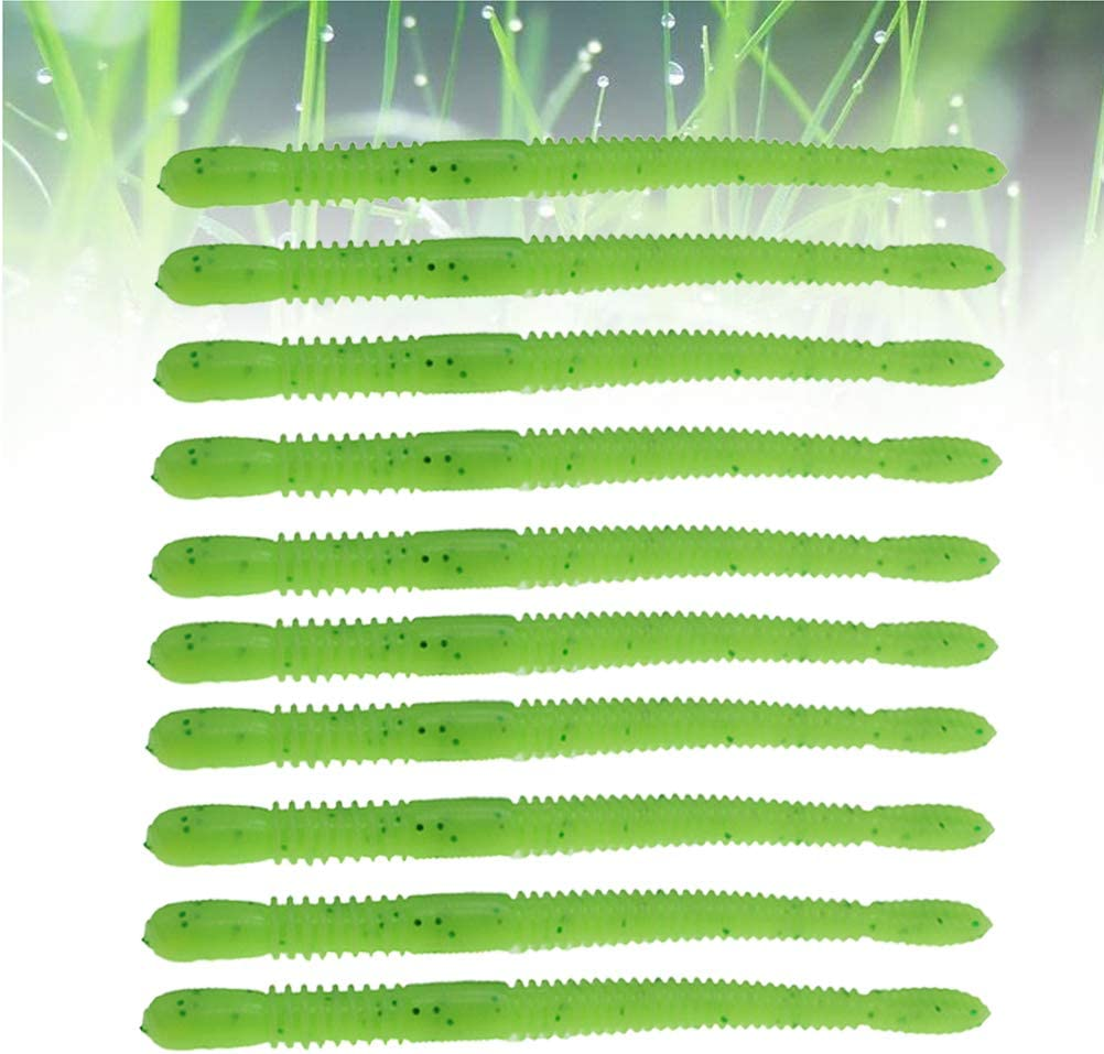 Light Green VORCOOL Fishing Lures Floating Simulation Earthworm Worms Soft Plastic Baits for Trout Bass Crawfish 10pcs