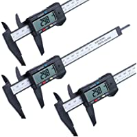 3 Pack Electronic Digital Caliper, 0-6 inches/150 mm Vernier Calipers, with Large LCD Screen, Inch and Metric Conversion Measuring Tool