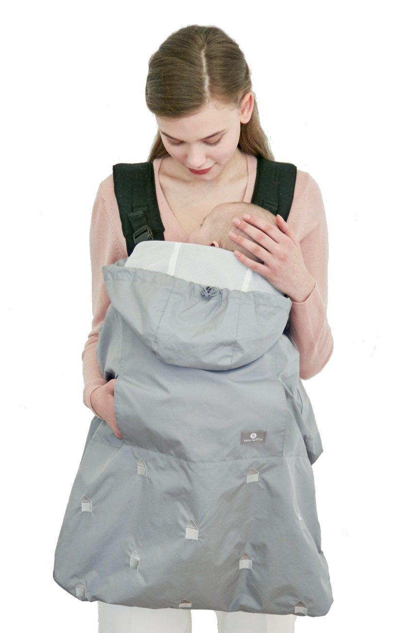 2-in-1 Universal Baby Carrier Rain Snow Wind Winter Warmer Cover + Stroller Footmuff, Mint Gray Baby Muffin