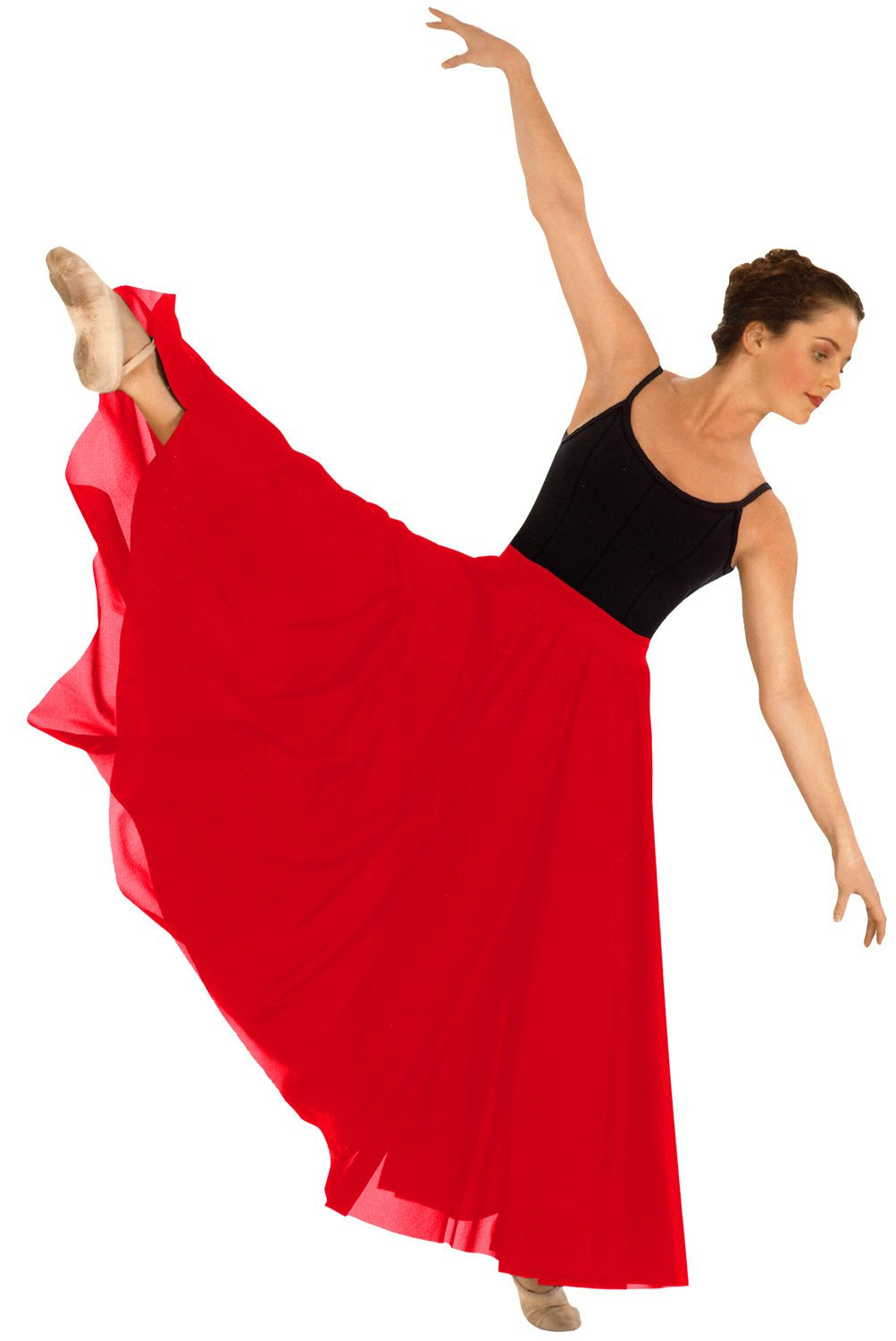 Eurotard 13674 Adult Triple Panel Lyrical Skirt,Red,One Size Fits All by Eurotard