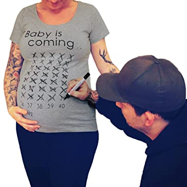 033d62b686d4f Kingko_® Maternity Baby is Coming Calendar T Shirt Geek Novelty Pregnant  Shirts Funny (Grey
