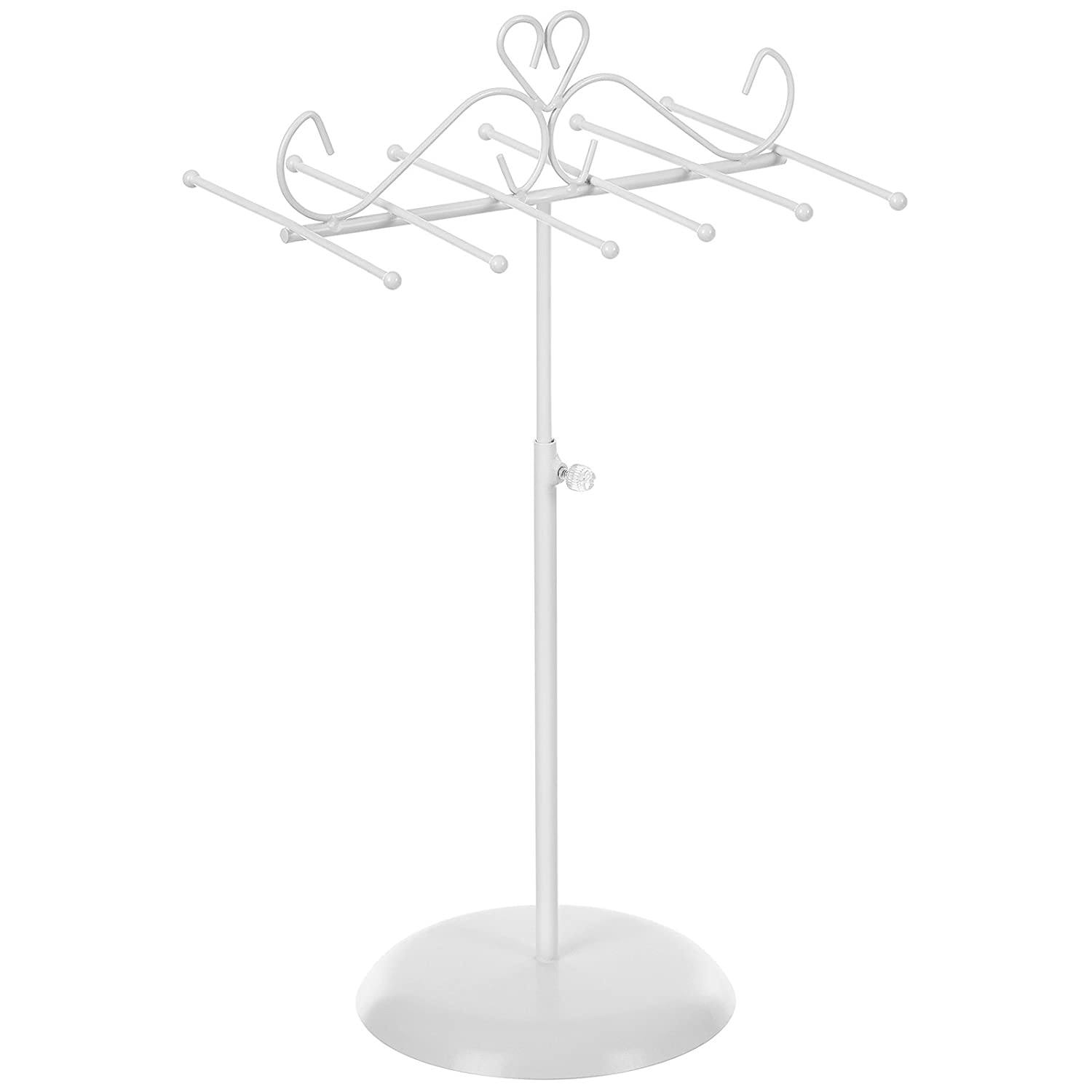 SONGMICS Jewellery Display Stand Holder, Metal Jewellery Rack Tree, for Necklaces, Chokers, Bracelets, Earrings, Gift for Girls Women, White JJS04WT