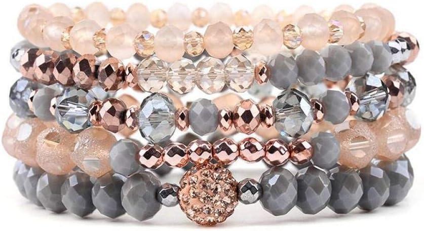 DMUEZW 5 Unids/Set Pulseras de Cristal facetadas de Moda para Mujeres Pulseras Multicapa de Cuentas de Oro Rosa Dorado Gris Femme Jewelry