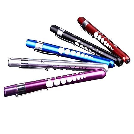 Pixnor Wieder verwendbare LED Penlight mit Schüler-Messgerät (zufällige Farben, Packung mit 3)