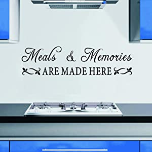 WOVTCP Meals & Memories Decal - Kitchen Quote Wall Decal - Meals and Memories are Made here Wall Sticker - Kitchen Wall Decor