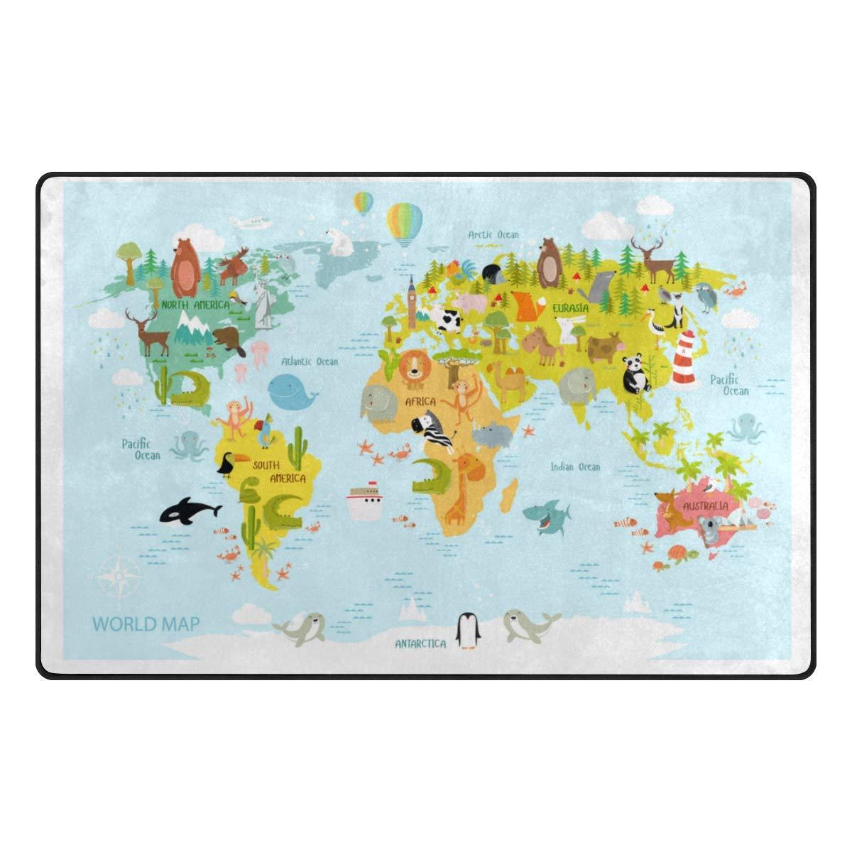 Vantaso Soft Foam Nursery Area Rugs World Map Animals 31x20 inch Play Mats for Kids Playing Room Living Room Door Mat