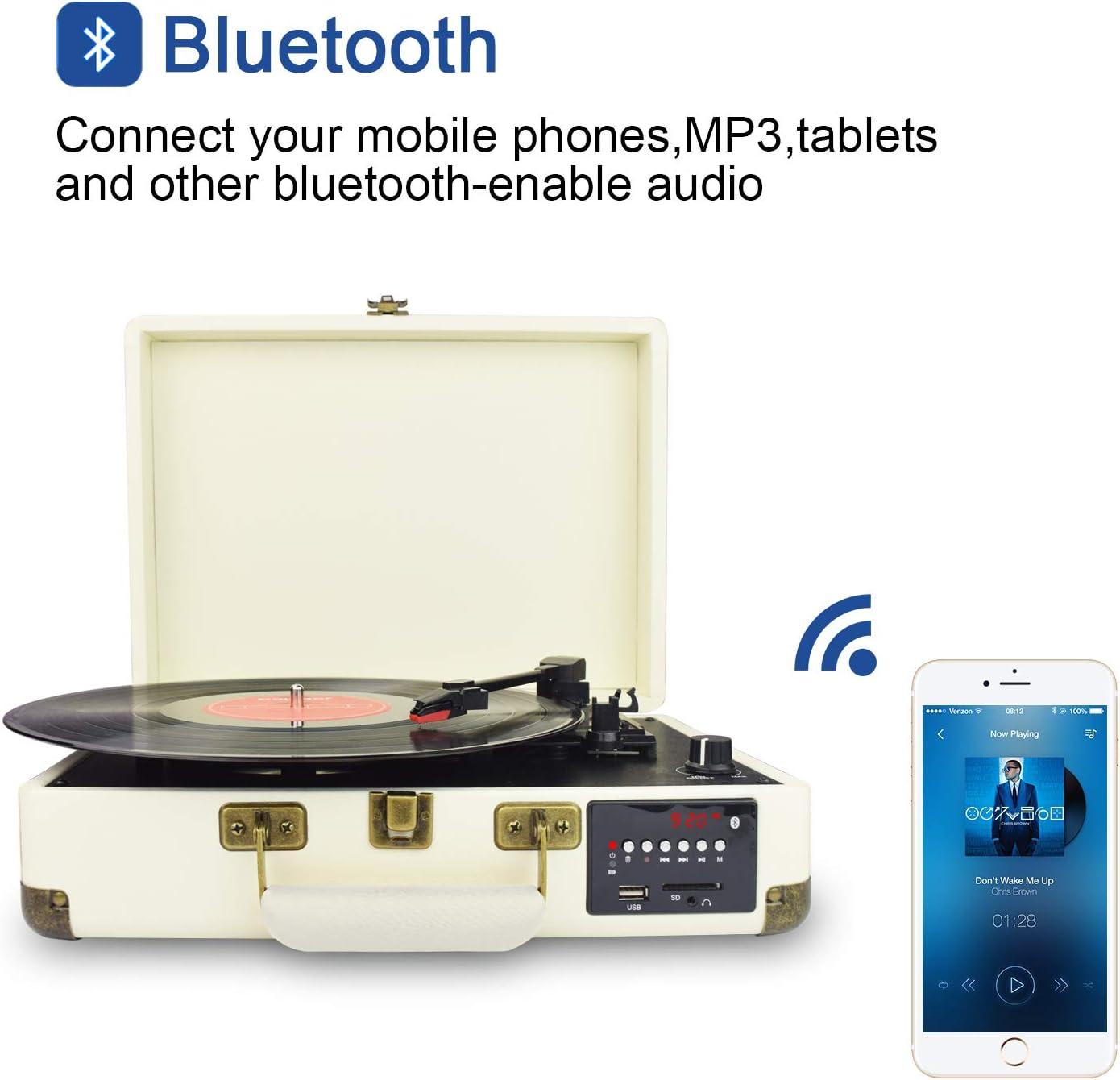 DIGITNOW! Tocadiscos Bluetooth de Cuero: Amazon.es: Electrónica
