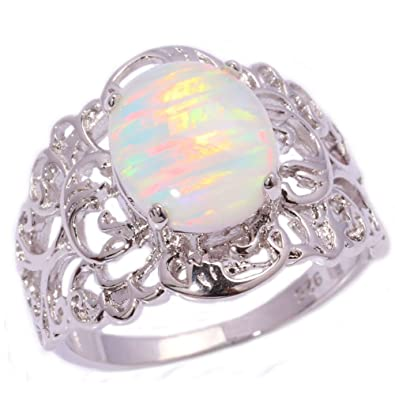 b5db1047a492 CiNily Rhodium Plated Created White Fire Opal Women Jewelry Gemstone Ring  Size 6
