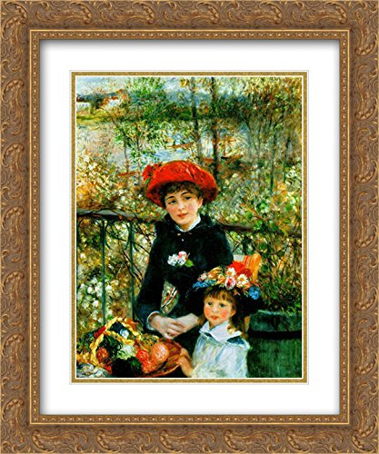 (Pierre Auguste Renoir 2X Matted 20x24 Gold Ornate Framed Art Print 'Two Sisters on The Terrace')