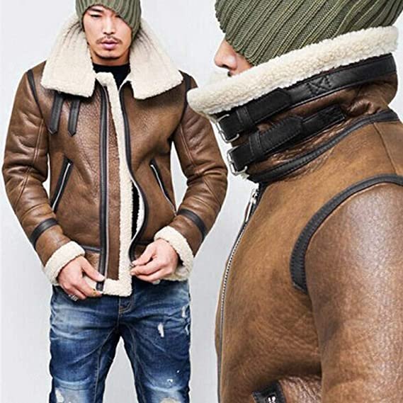 Amazon.com: Men Coat Casual Fashion Clothing Life Jacket Men Autumn Winter Highneck Warm Fur Liner Lapel Leather Zipper Outwear Top Coat: Sports & Outdoors