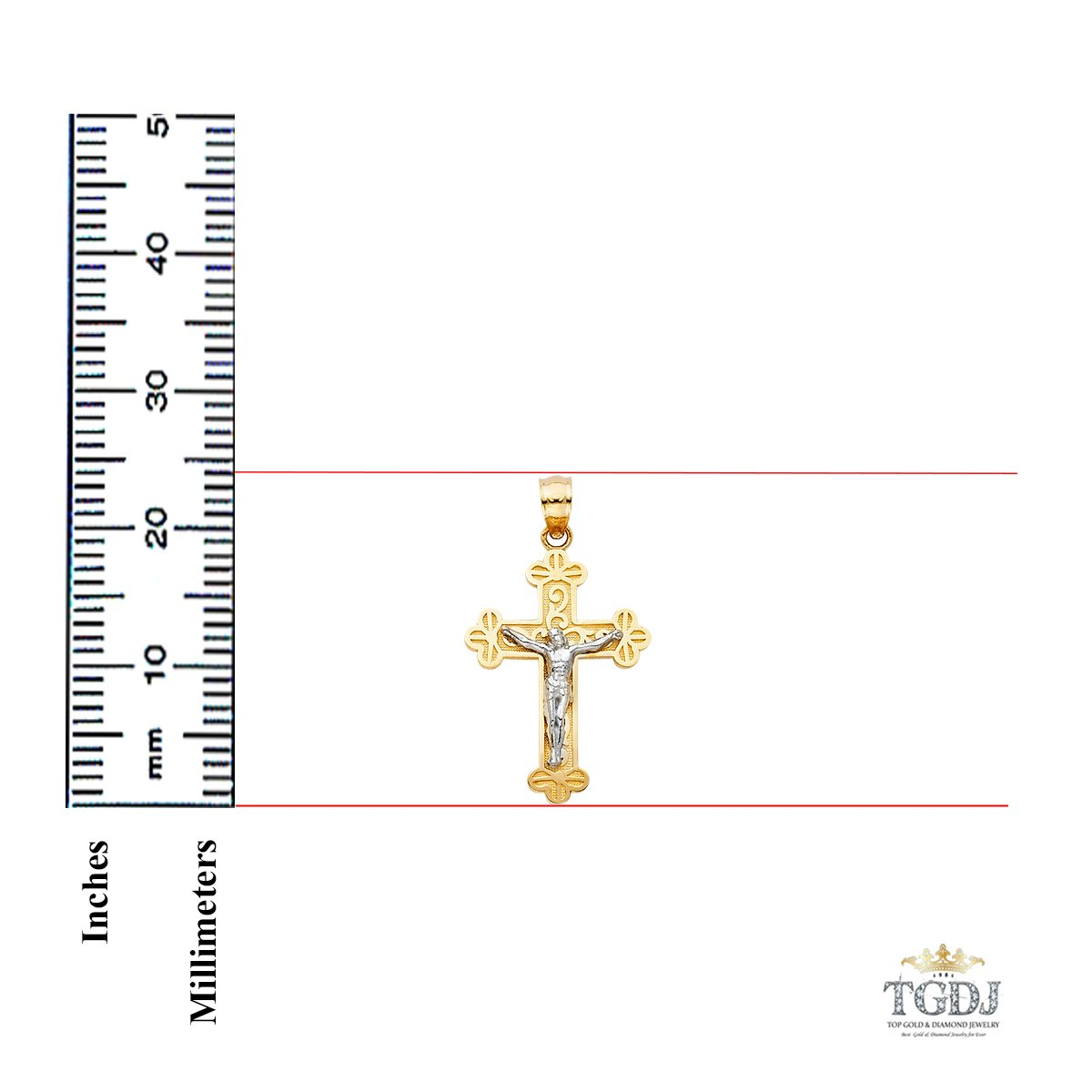 14k Two Tone//White Gold Jesus Crucifix Cross Religious Pendant Height 24 MM Width 16 MM
