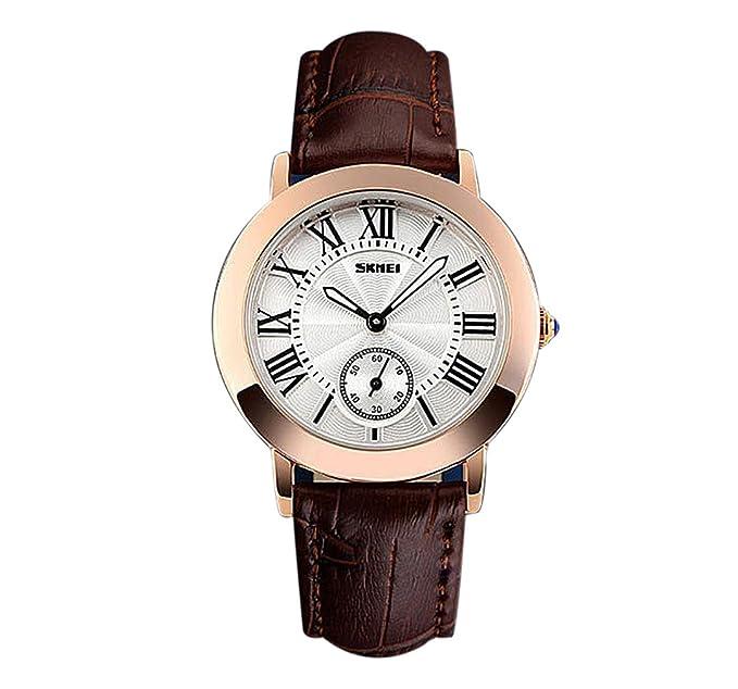 reloj de cuarzo de moda de las mujeres caja de oro rosa correa de piel marrón números romanos bellos relojes agradables: Amazon.es: Relojes