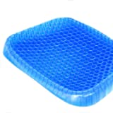 Sakar Gel Seat Cushion Comfort Blue Honeycomb Design Gel Pad Provides Excellent Support for Lower Back, Spine, Hips Promotes Venting & Good Sitting Posture for Office Chair Car Sitter Wheelchair