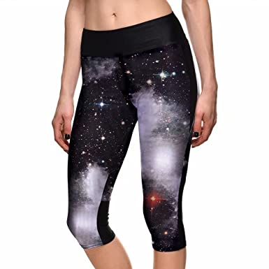 9f02812a97db5d Image Unavailable. Image not available for. Color: sissycos Women's Galaxy  Print Capri Leggings ...