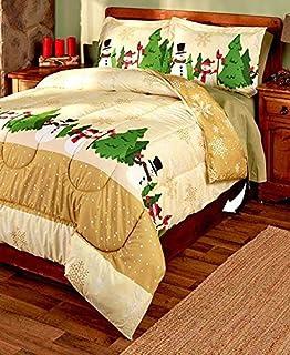 Amazon.com: 3-Pc. Reversible Full/Queen Christmas Comforter Set ... : christmas quilt set queen - Adamdwight.com