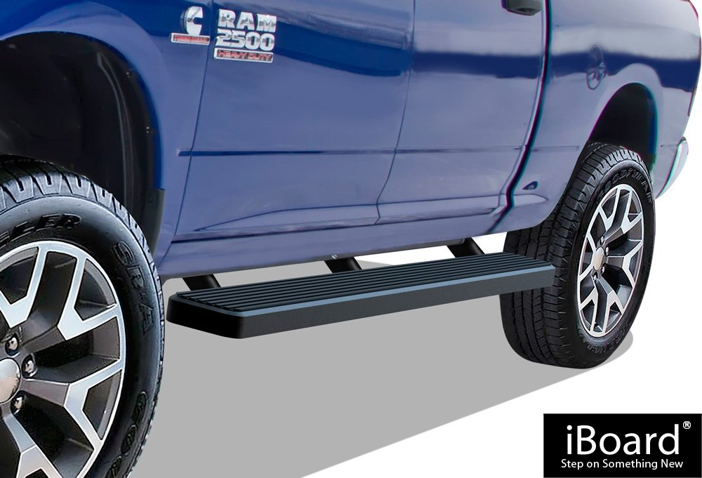 APS IBDZ5791 Black 4' Running Board Side Step (iBoard Third Generation, For Selected Dodge Ram 1500/2500/3500 Crew Cab, Aluminum)
