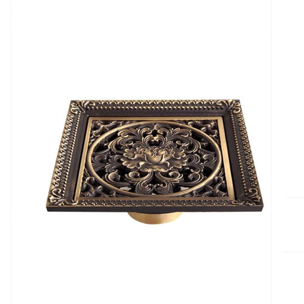 DDY Bathroom deodorant floor drain copper antique square bronze European carved floor drain luxury large 12 12cm