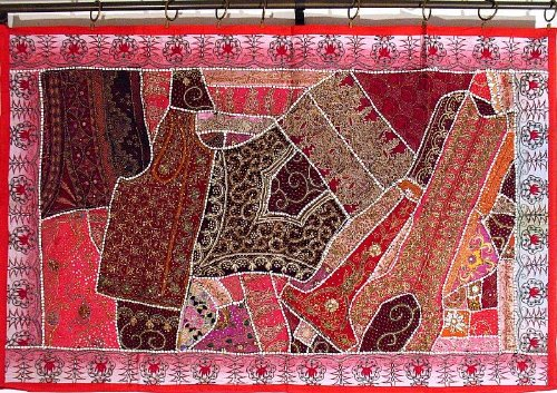 Deep Pink Indian Big Wall Decor Hanging Embellished Beaded Sari Tapestry Art Decorative Throw - 60 Inch X 40 Inch