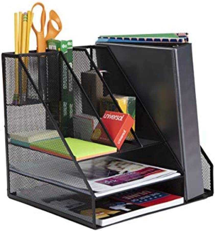 Mind Reader MESHORG-BLK Mesh Organizer 8 Compartments Desktop Document Letter Tray for Folders, Mail, Stationary, Desk Accessories, Black 8 Comp