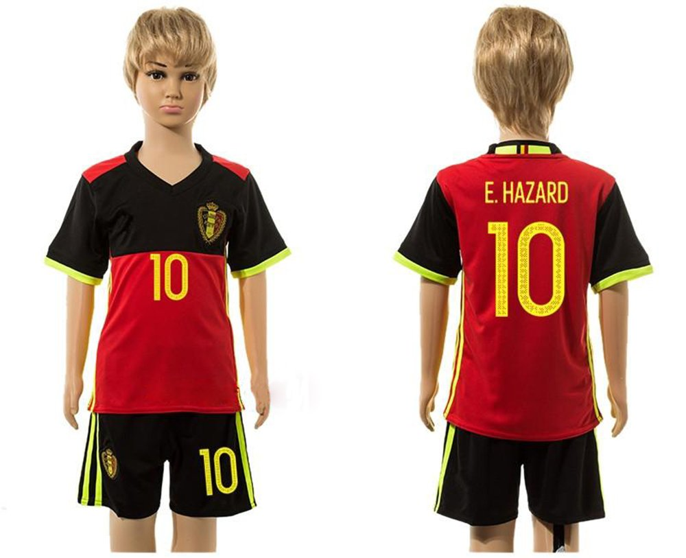 DQUKJS 2016 2017 Super Popular Bélgica 10 Eden Hazard Home para niños Kid Juventud fútbol Jersey Sets en Rojo