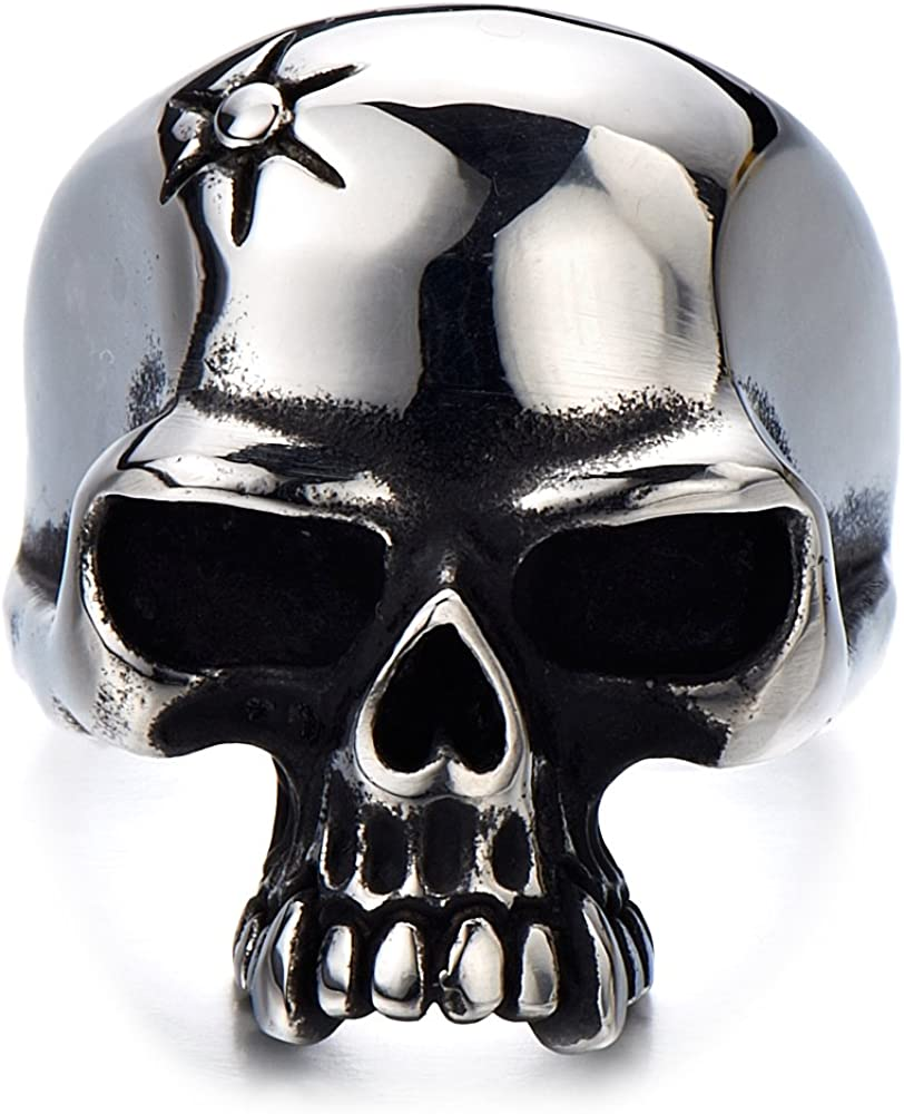 Details about  /Ring for Men Black Stone Punk Gothic Style Biker 316L Stainless Steel Ring Gift