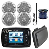 Infinity PRV350 Marine 3.5'' Display Bluetooth Stereo Receiver W/ Cover, Bundle Combo With 4x 6.5'' Inch 150-Watt Dual-Cone Boat Speakers + Enrock Radio Antenna + 50 Foot 16-Gauge Speaker Wire