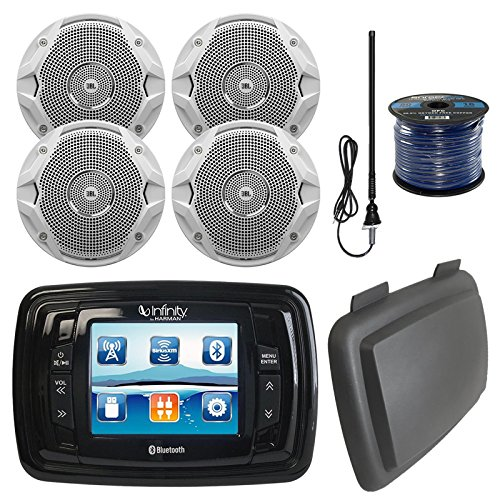 "Infinity PRV350 Marine 3.5"" Display Bluetooth Stereo Receiver W/ Cover, Bundle Combo With 4x 6.5"" Inch 150-Watt Dual-Cone Boat Speakers + Enrock Radio Antenna + 50 Foot 16-Gauge Speaker Wire"