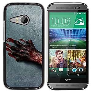 Be Good Phone Accessory // Dura Cáscara cubierta Protectora Caso Carcasa Funda de Protección para HTC ONE MINI 2 / M8 MINI // Blood Hand Scary Halloween Grey Horrible