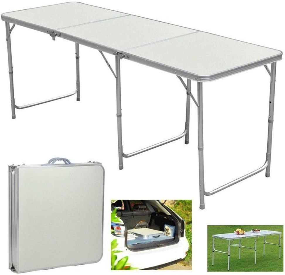 Snow Shop Everything 6FT×2FT Outdoor Portable Aluminum Camping Picnic Folding Dining Table
