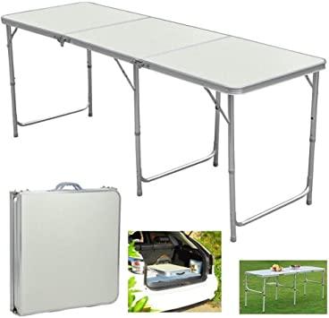 6FT Heavy Duty Portable Folding Trestle Alu Table Camping Garden Party BBQ Desk
